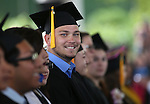 Graduate Dillon Hekhuis smiles at his family at the 45th annual Western Nevada College Commencement ceremony in Carson City, Nev., on Monday, May 23, 2016. A record 556 graduates received 598 degrees.<br />