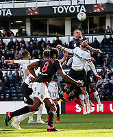 Bolton Wanderers' David Wheater heads under pressure from Derby County's Richard Keogh  <br /> <br /> Photographer Andrew Kearns/CameraSport<br /> <br /> The EFL Sky Bet Championship - Derby County v Bolton Wanderers - Saturday 13th April 2019 - Pride Park - Derby<br /> <br /> World Copyright &copy; 2019 CameraSport. All rights reserved. 43 Linden Ave. Countesthorpe. Leicester. England. LE8 5PG - Tel: +44 (0) 116 277 4147 - admin@camerasport.com - www.camerasport.com