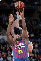 Real Madrid's Rudy Fernandez (b) and FC Barcelona Regal's Pete Mickeal during Spanish Basketball King's Cup match.February 07,2013. (ALTERPHOTOS/Acero) /Nortephoto