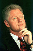 United States President Bill Clinton listens prior to delivering his remarks on school modernization at an event at Pine Crest Elementary School in Silver Spring, Maryland on 8 September, 1998.<br /> Credit: Ron Sachs / CNP
