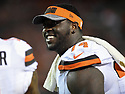 CLEVELAND, OH - AUGUST 18, 2016: Center Cameron Erving #74 of the Cleveland Browns smiles as he stands on the sideline in the third quarter of a preseason game on August 18, 2016 against the Atlanta Falcons at FirstEnergy Stadium in Cleveland, Ohio. Atlanta won 24-13. (Photo by: 2016 Nick Cammett/Diamond Images) *** Local Caption *** Cameron Erving