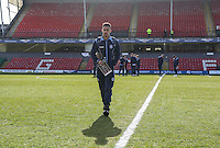 Paris Cowan-Hall of Wycombe Wanderers looks over the pitch ahead of the Sky Bet League 2 match between Grimsby Town and Wycombe Wanderers at Blundell Park, Cleethorpes, England on 4 March 2017. Photo by Andy Rowland / PRiME Media Images.
