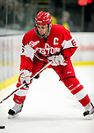9 January 2011: Boston University Terrier forward Joe Pereira, a Senior from West Haven, CT, in action against the University of Vermont Catamounts at Gutterson Fieldhouse in Burlington, Vermont. The Terriers defeated the Catamounts 4-2 in Hockey East play. Mandatory Credit: Ed Wolfstein Photo