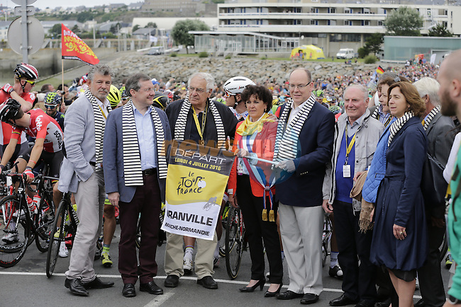 The official opening ceremony for the start of Stage 3 of the 2016 Tour de France, running 223.5km from Granville to Angers, France . 4th July 2016.<br /> Picture: Eoin Clarke | Newsfile<br /> <br /> <br /> All photos usage must carry mandatory copyright credit (&copy; Newsfile | Eoin Clarke)