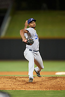 Pensacola Blue Wahoos relief pitcher Victor Payano (20) delivers a pitch during a game against the Birmingham Barons on May 8, 2018 at Regions Field in Birmingham, Alabama.  Birmingham defeated Pensacola 5-2.  (Mike Janes/Four Seam Images)