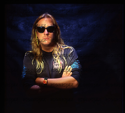 Slayer - Jeff Hanneman - portrait photosession at the end of the Clash of The Titans Tour  in London UK - 15 Oct 1990.  Photo credit: Tony Mottram/IconicPix