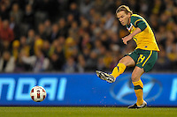 MELBOURNE, AUSTRALIA - JUNE 7: Brett Holman of the Socceroos kicks the ball during an international friendly match between the Qantas Australian Socceroos and Serbia at Etihad Stadium on June 7, 2011 in Melbourne, Australia. Photo by Sydney Low / AsteriskImages.com