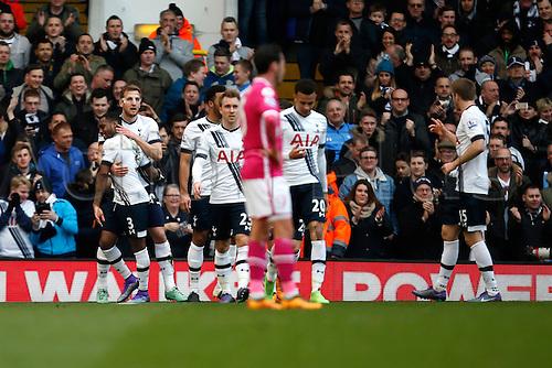 20.03.2016. White Hart Lane, London, England. Barclays Premier League. Tottenham Hotspur versus AFC Bournemouth. Harry Kane of Tottenham Hotspur celebrates his second goal for a pass by Dele Alli.