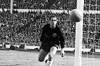 30.07.1966. Wembley Stadium, London England. 1966 World Cup final England versus Germany (4-2) After Extra time.  Goalkeeper Hans Tilkowski Germany watches as s shot goes past his post