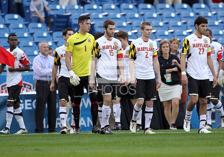 HOOVER, AL - DECEMBER 07, 2012:  Players of the University of Maryland before an NCAA 2012 Men's College Cup semi-final match, at Regents Park, in Hoover , AL, on Friday, December 07, 2012. The game ended in a 4-4 tie, after overtime Georgetown won on penalty kicks.