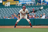 Frisco RoughRiders Charles Leblanc (12) leads off during a Texas League game against the Amarillo Sod Poodles on May 17, 2019 at Dr Pepper Ballpark in Frisco, Texas.  (Mike Augustin/Four Seam Images)