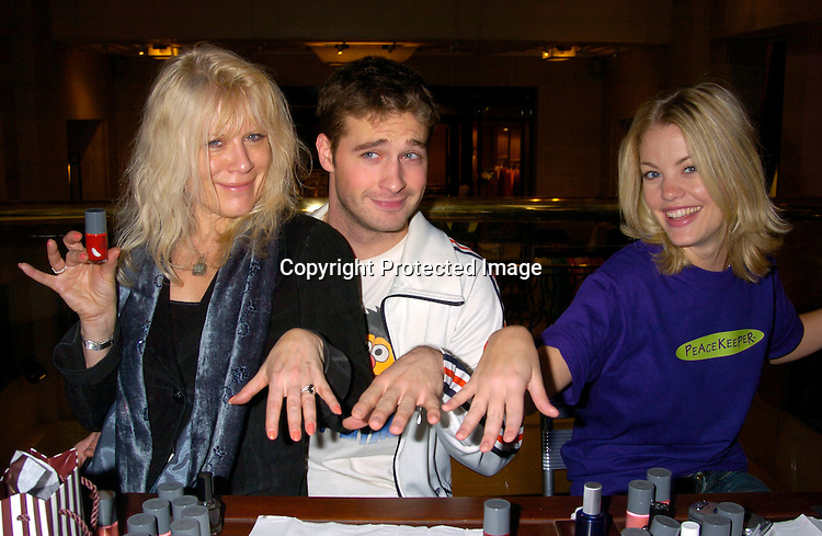 Ilene Kristen, Brock Cuchna and Bree Williamson..at Bendels for Peacekeeper Cause-metics  on February 7, 2004. The soap stars gave manicures to fans. Photo by Robin Platzer, Twin Images