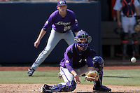 Braden Mattson #33 of the TCU Horned Frogs awaits a throw to the plate against the Cal State Fullerton Titans at Goodwin Field on February 26, 2012 in Fullerton,California. Fullerton defeated TCU 11-10.(Larry Goren/Four Seam Images)