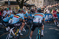 Team Belgium at the race start (with race favorite Remco Evenepoel)<br /> <br /> MEN JUNIOR ROAD RACE<br /> Kufstein to Innsbruck: 132.4 km<br /> <br /> UCI 2018 Road World Championships<br /> Innsbruck - Tirol / Austria