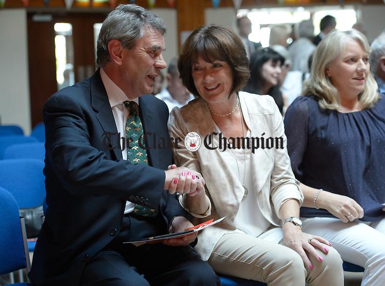 Dr Michael Harty TD with Ann Droney Kirrane at Fáiltiú, the opening ceremony for Fleadh Cheoil na hÉireann Micheal O Riabhaigh, chairman of Fleadh Cheoil na hEireann0Labhrás Ó Murchú, Director-General of Comhaltas Ceoltóirí ÉireannPat Mc Donagh, Supermac's, sponsor at Cois na hAbhna. Photograph by John Kelly.