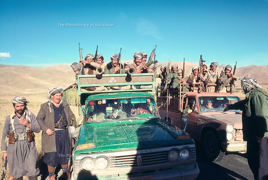Iran 1979.Transport of peshmergas in vans