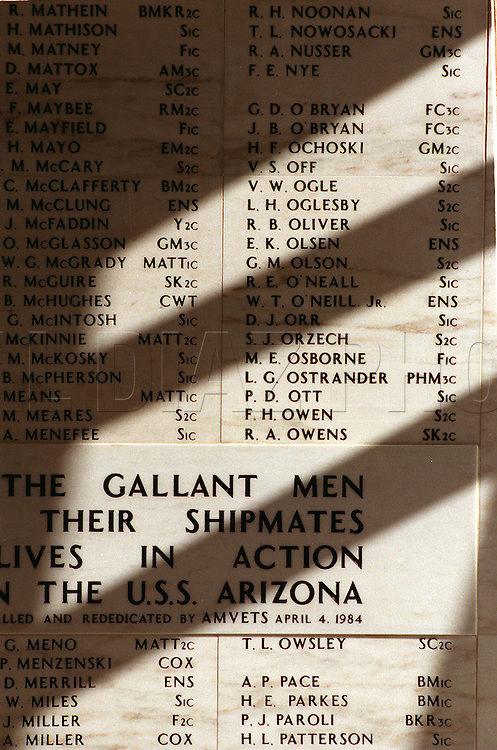 Al Diaz/Herald Staff--In Memory: Marble wall in Arizona Memorial's Shrine Room lists the crewmen killed on Dec. 7th 1941.