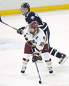 Brett Hemingway, Chris Collins - The Boston College Eagles and University of New Hampshire earned a 3-3 tie on Thursday, March 2, 2006, on Senior Night at Kelley Rink at Conte Forum in Chestnut Hill, MA.  Boston College honored its three seniors, captain Peter Harrold and alternate captains Chris Collins and Stephen Gionta, before the game.