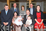 CHRISTENED: A great day for for baby Eimear from Currow in Ballygarry House Hotel & Spa after her christening in the Immaculate Conception Church, Currow, with her parents and godparents and Grandparents. Front l-r: John, Marian, Eimear, Clodagh and Humphrey McMahon and Noreen Murphy. Back l-r: John Mc Mahon,Noreen and Jerry Murphy.