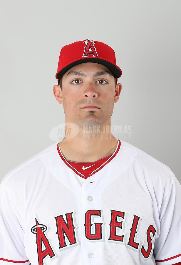 Feb. 20, 2013; Tempe, AZ, USA: Los Angeles Angels outfielder Randal Grichuk poses for a portrait during photo day at Tempe Diablo Stadium. Mandatory Credit: Mark J. Rebilas-