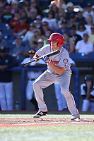 Kole Enright (10) of the Spokane Indians bunts during a game against the Hillsboro Hops at Ron Tonkin Field on July 22, 2017 in Hillsboro, Oregon. Spokane defeated Hillsboro, 11-4. (Larry Goren/Four Seam Images)