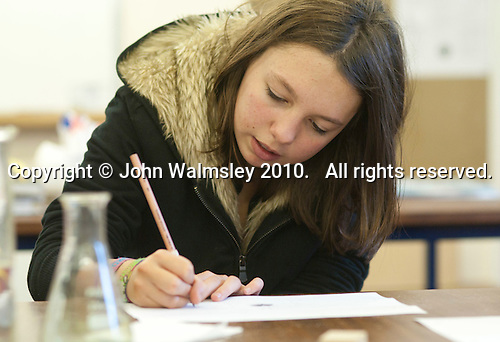 One of the students during a Chemistry class, Summerhill School, Leiston, Suffolk. The school was founded by A.S.Neill in 1921 and is run on democratic lines with each person, adult or child, having an equal say.  You don't have to go to lessons if you don't want to but could play all day.  It gets above average GCSE exam results.