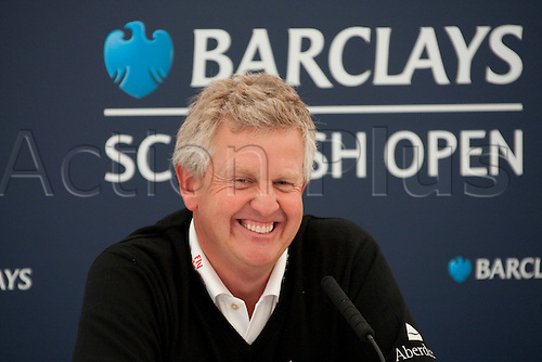 LOCH LOMOND SCOTLAND. 07-07-2010.   Colin Montgomerie (GBR) during his press conference on the preview day of the PGA European Tour, Barclays Scottish Open part of the race to Dubai.