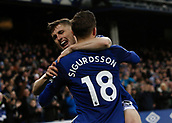 2nd December 2017, Goodison Park, Liverpool, England; EPL Premier League football, Everton versus Huddersfield Town; Gylfi Sigurdsson of Everton celebrates withb Jonjoe Kenny after scoring the first goal after 47 minutes