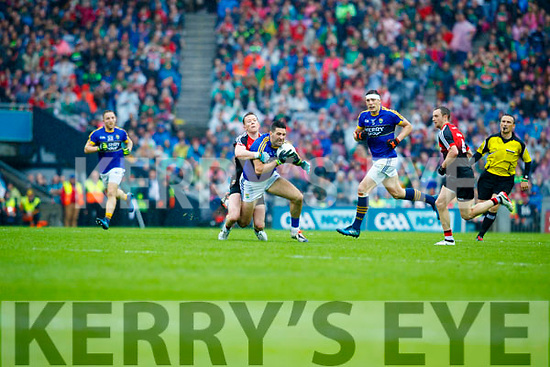 Bryan Sheehan Kerry in action against Donal Vaughan Mayo in the All Ireland Semi Final in Croke Park on Sunday.