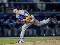 Walker Buehler pitcher inicial de dodgers, durante el partido de beisbol de los Dodgers de Los Angeles contra Padres de San Diego, durante el primer juego de la serie las Ligas Mayores del Beisbol en Monterrey, Mexico el 4 de Mayo 2018.<br /> (Photo: Luis Gutierrez)