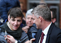 2nd November 2019; Vitality Stadium, Bournemouth, Dorset, England; English Premier League Football, Bournemouth Athletic versus Manchester United; Ole Gunnar Solskjear Manager of Manchester United signs autographs on arrival at Vitality Stadium - Strictly Editorial Use Only. No use with unauthorized audio, video, data, fixture lists, club/league logos or 'live' services. Online in-match use limited to 120 images, no video emulation. No use in betting, games or single club/league/player publications