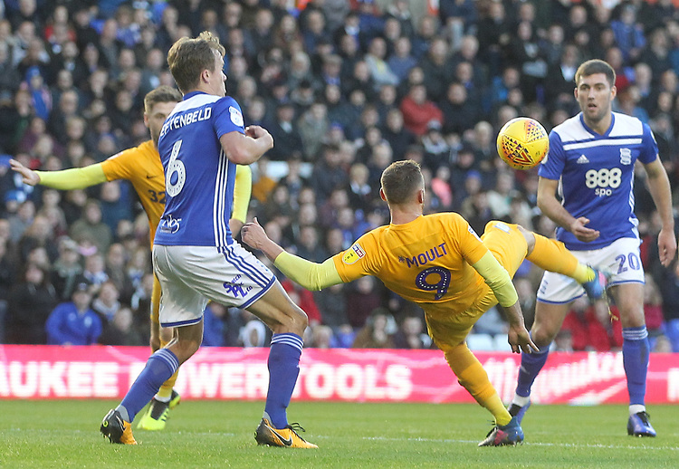 Preston North End's Louis Moult tries a overhread kick<br /> <br /> Photographer Mick Walker/CameraSport<br /> <br /> The EFL Sky Bet Championship - Birmingham City v Preston North End - Saturday 1st December 2018 - St Andrew's - Birmingham<br /> <br /> World Copyright © 2018 CameraSport. All rights reserved. 43 Linden Ave. Countesthorpe. Leicester. England. LE8 5PG - Tel: +44 (0) 116 277 4147 - admin@camerasport.com - www.camerasport.com