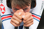 Ethan Vernon of Great Britain warms up before the Men's Under 23 Individual Time Trial of the UCI World Championships 2019 running 30.3km from Ripon to Harrogate, England. 24th September 2019.<br /> Picture: Alex Whitehead/SWPix.com | Cyclefile<br /> <br /> All photos usage must carry mandatory copyright credit (© Cyclefile | Alex Whitehead/SWPix.com)