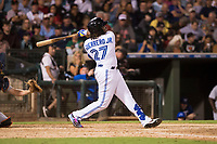AFL West third baseman Vladimir Guerrero Jr. (27), of the Surprise Saguaros and Toronto Blue Jays organization, hits a line drive double to left field during the Fall Stars game at Surprise Stadium on November 3, 2018 in Surprise, Arizona. The AFL West defeated the AFL East 7-6 . (Zachary Lucy/Four Seam Images)