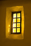 Sunlight shines through a window of Mission San Francisco de Asis in San Francisco, California.