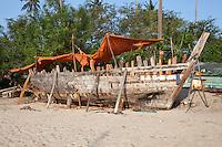 Marahubi, Zanzibar, Tanzania.  Dhow under Construction.