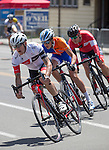 Edward Downs from Truckee, CA leads the pack in the Elite 3/4 division in the Tour De Nez Bike Race in downtown Reno on Saturday, June 11, 2016.