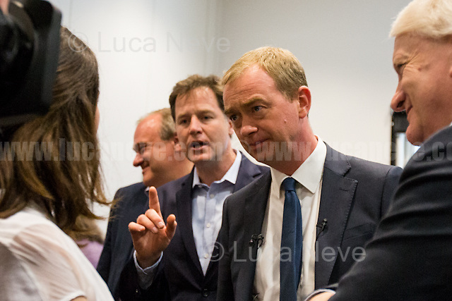 (From R to L) Tim Farron (Leader of the Liberal Democrats), Nick Clegg (Liberal Democrats politician and Former British Deputy Prime Minister of the Coalition Government 2010-2015 - Conservative Party and Liberal Democrats) &amp; Ed Davey (Liberal Democrat politician, former Member of Parliament for Kingston and Surbiton from 1997 to 2015; Former Secretary of State for Energy and Climate Change from 2012 to 2015 in the Conservative-Liberal Democrat coalition Government).<br />