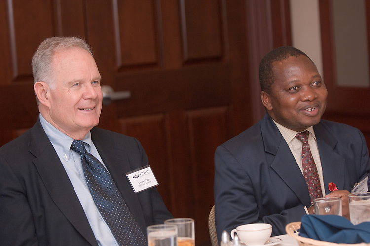 Bojosi Otlhogile, Vice Chancellor, University of Botswana talks to President Emeritus, Dr. Ping during lunch.