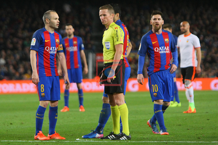 League Santander 2016/2017. Game: 28.<br /> FC Barcelona vs Valencia CF: 4-2.<br /> Andres Iniesta, Hernandez Hernandez &amp; Lionel Messi.