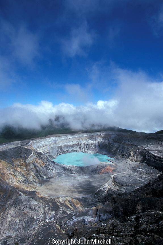 The steaming crater of avtive Poas Volcano, Parque Nacional Volcan Poas, Costa Rica