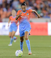 Poliana (2) of the Houston Dash brings the ball up the field in the first half against the Chicago Red Stars on Saturday, April 16, 2016 at BBVA Compass Stadium in Houston Texas.