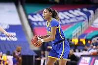 GREENSBORO, NC - MARCH 04: Emy Hayford #4 of the University of Pittsburgh holds the ball during a game between Pitt and Notre Dame at Greensboro Coliseum on March 04, 2020 in Greensboro, North Carolina.
