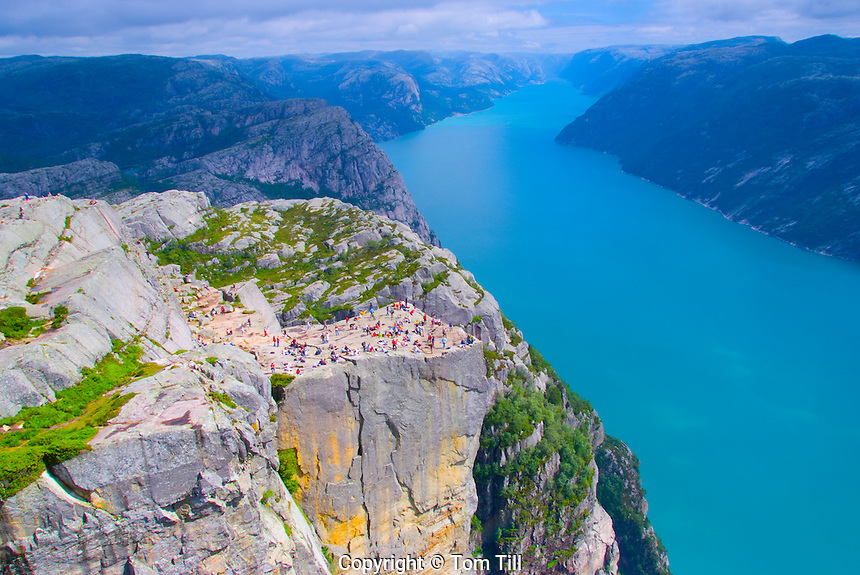 Pulpit Rock above Lysefjord, Western Fjords, Norway    2,000 Feet above fjord