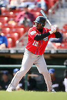 April 25, 2009:  Willie Harris (12) of the Syracuse Chiefs, International League Class-AAA affiliate of the Washington Nationals, during a game at the Coca-Cola Field in Buffalo, NY.  Photo by:  Mike Janes/Four Seam Images