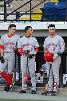 Greeneville Reds players (from left to right) Mike Siani (34),  Brian Rey (6) and Jonathan India (3) have a conversation  before a game against the Burlington Royals at the Burlington Athletic Complex on July 7, 2018 in Burlington, North Carolina. It was the first professional game for both  Siani and India after signing with Cincinnati. Burlington defeated Greeneville 2-1. (Robert Gurganus/Four Seam Images)
