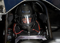 Sept. 1, 2013; Clermont, IN, USA: NHRA funny car driver Blake Alexander during qualifying for the US Nationals at Lucas Oil Raceway. Mandatory Credit: Mark J. Rebilas-