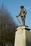 War memorial statue of soldier with rifle outside Winchester Cathedral