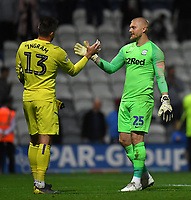 Preston North End's Connor Ripley embraces his counterpart, Hull City's Matt Ingram after the penalty shoot out<br /> <br /> Photographer Dave Howarth/CameraSport<br /> <br /> The Carabao Cup Second Round - Preston North End v Hull City - Tuesday 27th August 2019  - Deepdale Stadium - Preston<br />  <br /> World Copyright © 2019 CameraSport. All rights reserved. 43 Linden Ave. Countesthorpe. Leicester. England. LE8 5PG - Tel: +44 (0) 116 277 4147 - admin@camerasport.com - www.camerasport.com