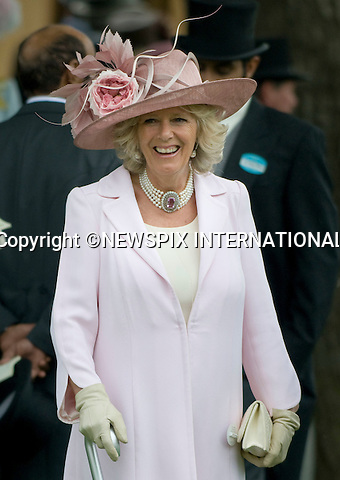"ROYAL ASCOT 2009_day 2.Camilla, Duchess of Cornwall, Ascot_16/06/2009.Mandatory Photo Credit: ©Dias/Newspix International..**ALL FEES PAYABLE TO: ""NEWSPIX INTERNATIONAL""**..PHOTO CREDIT MANDATORY!!: NEWSPIX INTERNATIONAL(Failure to credit will incur a surcharge of 100% of reproduction fees)..IMMEDIATE CONFIRMATION OF USAGE REQUIRED:.Newspix International, 31 Chinnery Hill, Bishop's Stortford, ENGLAND CM23 3PS.Tel:+441279 324672  ; Fax: +441279656877.Mobile:  0777568 1153.e-mail: info@newspixinternational.co.uk"